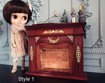 1:6 Scale Doll Furniture Rosewood Fireplace for Blythe or 1:6 scale doll