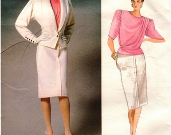 Vintage Vogue Paris Original Pattern 1766 - EMANUEL UNGARO - Misses Semi-Fitted Jacket, Straight Skirt & Blouse with Bias Neck - 12