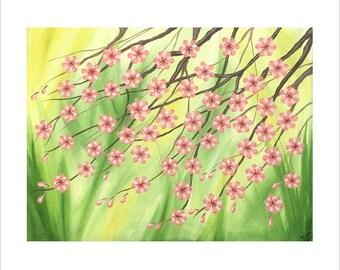 Pink Cherry Blossom Painting, Original Painting on Canvas, Japanese Blossom Art, Pink Blossom Tree Artwork, Flower Design Wall Decor