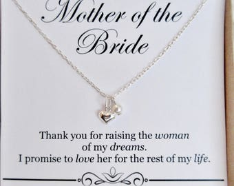 Mother of the Bride gift from Groom, Sterling silver Heart necklace, wedding bridal party, gift for brides mom, Present, dainty necklace