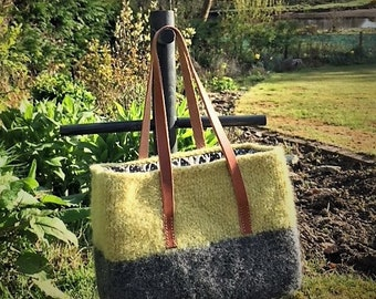 Knitted Bag / Tote / Hand Knit / Felted / Leather Handles / Cotton Lined / Light Green / Grey
