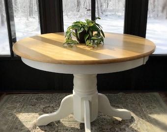 Oak Round Kitchen Table Round oak table etsy beautiful oak round kitchen tablefarmhouse round wooden tablerustic kitchen tablecountry workwithnaturefo