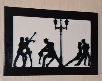 Decorative painting wooden representative of tango dancers