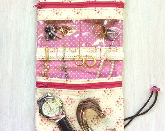 Jewelry case, jewelry roll, travel jewelry bag, jewelry organizer