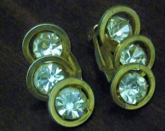 Vintage Judy Lee signed triple rhinestones clip-on earrings
