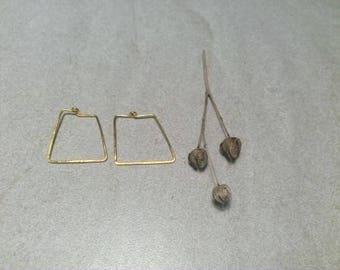 Trapezoid earrings, hoops, silver 925, gilded 24kt, geometric design
