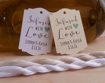 25 Infused with Love Favor Tags, Infused with Love Tags, Wedding Favor Tags Infused with Love