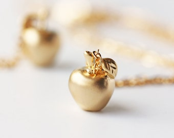 Golden apple rose gold apple necklace teachers teach apple of matte gold apple necklace golden apple fairy tale pendant jewelry mozeypictures Image collections