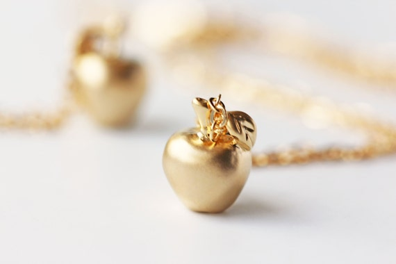 Matte gold apple necklace golden apple fairy tale pendant aloadofball Image collections