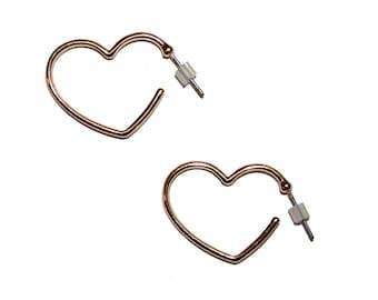 Vintage Heart Hoop Earrings - heart shaped hoop earrings vintage earrings vintage metal jewelry dead stock vintage