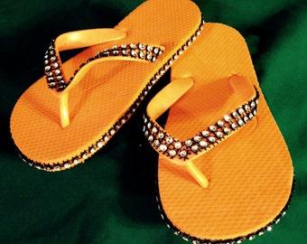 Girls\Womens Orange, Black & Silver Bling Flip Flops