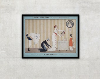 """Art Deco print vintage style fashion illustration, """"À Pygmalion"""" by George Barbier, IL038."""