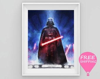 Darth Vader Print Star Wars Poster Darth Vader Painting Darth Vader Art Darth Vader Wall Decor Star Wars Art Kids Room Decor Boys Gift