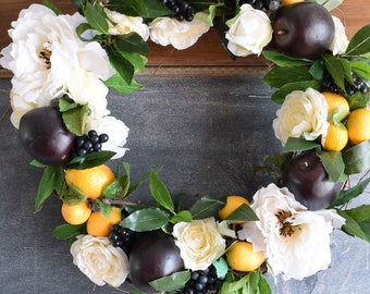 Ready to ship OOAK front door wreath, Plum, quince, lemon and white flower wreath, summer wreath