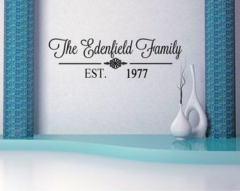 Custom Family Last Name Vinyl Decal - Family Vinyl Wall Art Decal, Family Name Vinyl, Personalized Vinyl, Home Decor, Living Room, 33x9
