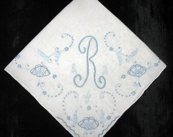 Blue Handkerchief /Monogrammed R Initial Letter / Bridal Keepsake Madeira Embroidery / Hankerchief Hankie Hanky