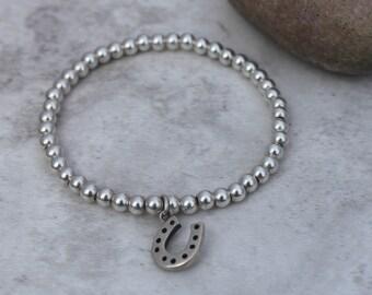 Silver Horseshoe Bracelet - Lucky Bracelet - Lucky Jewellery - Bridal Bracelet - Stacking Bracelet - Horseshoe Gift - Silver Horseshoe