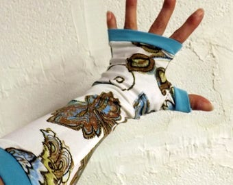 "Fingerless gloves long ""Manolo"" flowers and turquoise"