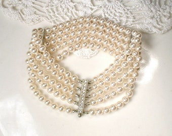 HOLD 1920 Art Deco Multi Strand Pearl Bracelet,Ornate Pave Rhinestone Clasp Glass Ivory Champagne Bridal 1930 Gatsby Vintage Wedding Antique