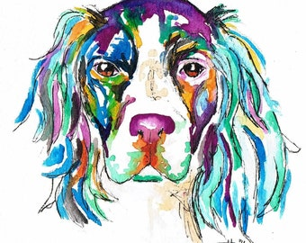 Springer Spaniel dog, watercolour print, home decor, wall art, colourful, gift, Spaniel art, Spaniel gifts, Springer Spaniel print,