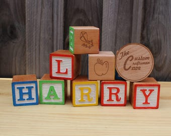 Classic Style Alphabet Blocks. 5cm Hardwood. Custom requests welcome