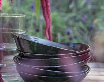 Ceramic Bowl, Noodle Bowl, Black Ceramic Bowl, Black Pottery Bowl, Ramen Bowl, Ceramic Pasta Bowl, Handmade Pottery, Stoneware Bowl