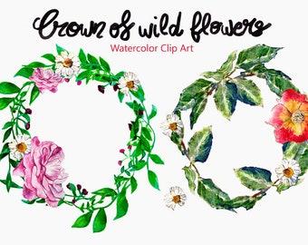 Watercolor Clip Art, wreaths of wild flowers, wildflowers, instant download