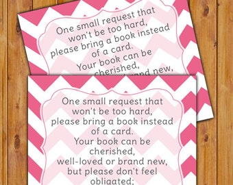 In Lieu of card, Book Baby Shower Invitation Inserts Instead of a Card Pink Chevron Printable PDF--Instant Download