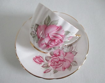 Royal London Tea Cup & Saucer Large Pink Rose Fancy Shape Gold Gilt