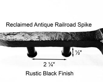 "2 1/4"" Right Black Railroad Spike Cupboard Handle Dresser Drawer Pull Cabinet Knob Antique Vintage Old Rustic Re-purposed House Restoration"