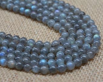"6mm 227   A grade labradorite round gemstone loose beads 16""   90%+ flash beads"