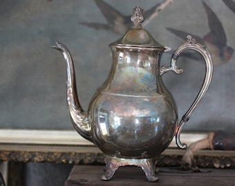 Heavy Art Deco Vintage Silverplated Teapot with lid and lots of Patina