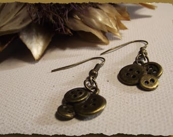 Bronze metal button earrings for seamstresses