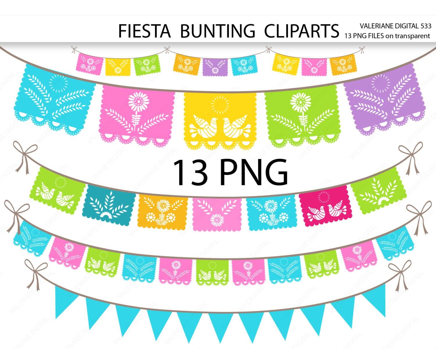 Fiesta digital bunting clipart mexican clip art clipart for zoom stopboris Images