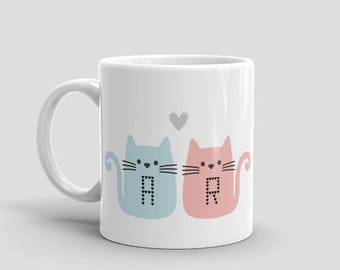 Love Cats Couple Mug - Personalise Letters,  Engagement Gift, Wedding Gift, Anniversary, Couples Gift, Birthday Gift, Best Friend Gift