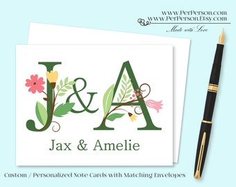 Free Ship!  Set of 12 Personalized / Custom Notecards, Boxed, Blank Inside, Flower, Floral, Monogram, Name, Initials
