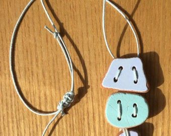 3 Piece Summer Pastels Sea Pottery Pendant Necklace