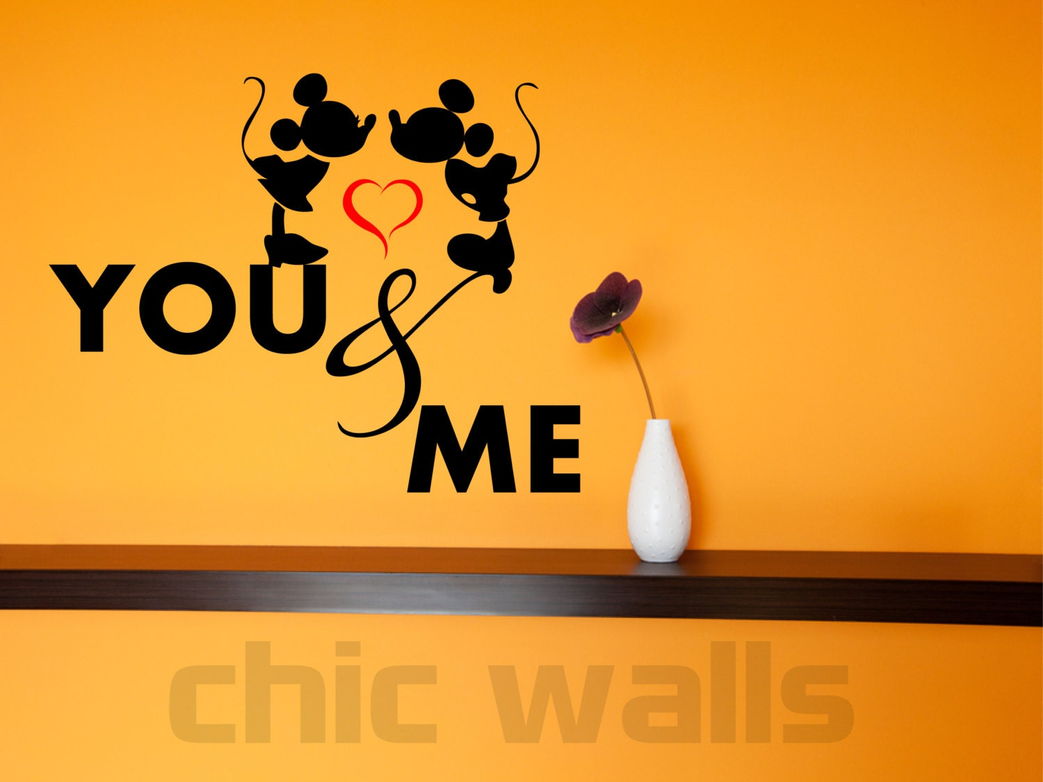 Mickey Minnie Mouse Love Kissing Custom Removable Wall Window