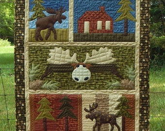 OOAK Moose Crossing Northwoods Finished Quilt