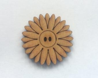 5 x Wooden Flower Buttons