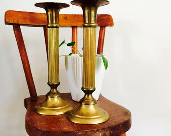 Vintage brass large candle stick holders| vintage grote kaarsenstandaards| koperen kaarsenstandaards| set of 2 large candle stick holders