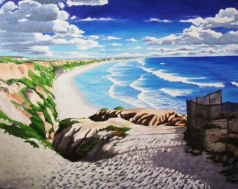 """Large Landscape Painting of CA Beach Giclee 48""""x 36"""""""