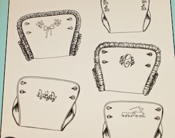 Baby Diaper Covers By Nancy Colburn, Ginger Snap Designs, Size Preemie to Large, Button-On Diaper Covers, Embroidery and Shadow Work Designs