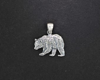 Silver grizzly bear pendant sterling silver bear necklace bear pendant in sterling silver aloadofball Choice Image