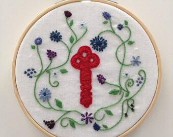 Embroidered Art, Floral Secret Garden Keys