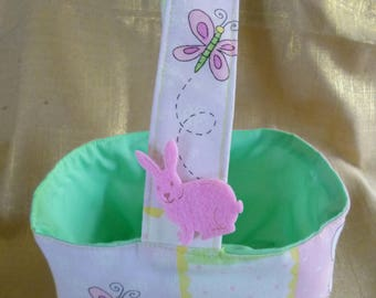 Easter Basket. Bunny Buddies print with Mint lining. One Handle. approx 13 cm wide x 9 cm deep x 8 cm high.