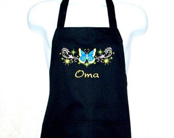 Oma Apron, Butterfly, For Meme, Tete, Granny, Nana, Custom Personalize With Any Grandma Name, No Shipping Fee, Ready To Ship TODAY, AGFT 672