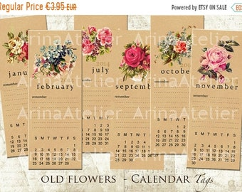 SALE 40% OFF - Old Flowers Calendar Tags - Bookmarks -  Hang Tags - Vintage Collage - gift Tags, scrapbooking, mixed media, altered art