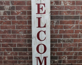 "Welcome Sign For Front Door, 60"" X 11"", Wood Sign, Front Porch Sign, Welcome Sign, Fence Wood Welcome Sign, Fence Welcome Sign, Welcome"