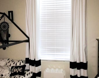 Sale Custom Black And White Striped Curtains Stripes Color Blocked Nursery